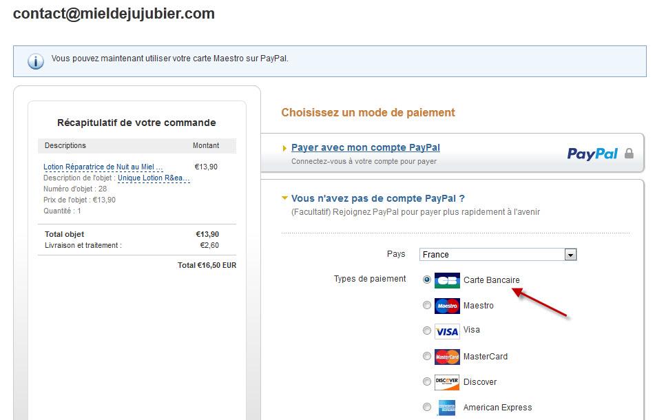 Paypal et Carte Bancaire P2